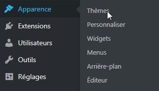 chemin d'accès de l'activation du thème enfant WordPress