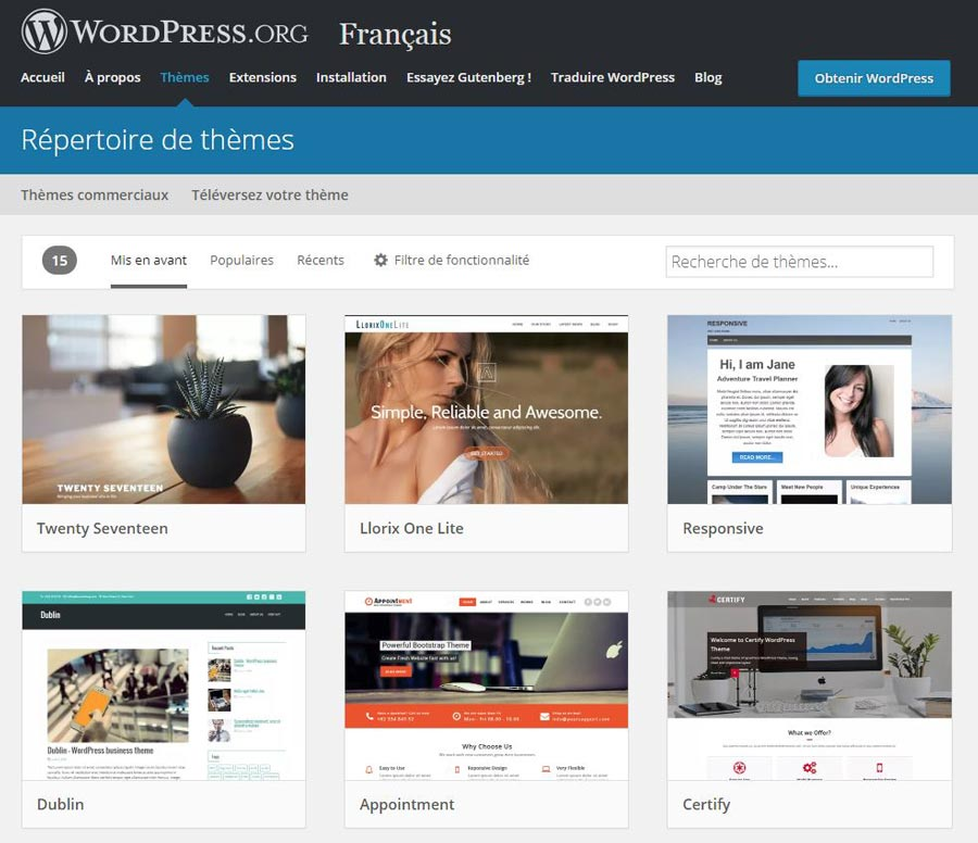 dépôt thèmes gratuits WordPress