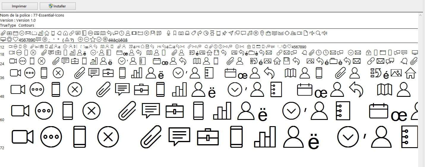 Icônes regroupés en une seule image en sprite